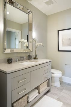Vanity paint color is Sherwin Williams SW 7673 Pewter Cast. Guest Bathroom Remodel, Bathroom Renos, Bathroom Renovations, Bathroom Interior, Small Bathroom, Master Bathroom, Bathroom Mirrors, Bathroom Cabinets, Bathroom Grey