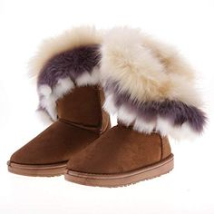 Brown Fashion New Women's Autumn Winter Snow Ankle Warm Synthetic Fur Shoes boots Warm Boots, Winter Snow Boots, Cool Boots, Winter Shoes, Brown Boots Fashion, Streetwear, Fur Lined Boots, Girls Flats, Ugg Boots