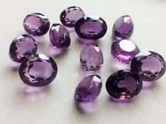 4 Pcs Amethyst Cabochon Lot Oval Faceted by gemsforjewels on Etsy
