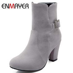 64.32$  Watch here - http://ali3lk.worldwells.pw/go.php?t=32438225857 - ENMAYER High Quality Hot Sale High Heels Ankle Boots Sexy Round Toe Women Fashion Boots Buckle Strap Square Heel Autumn Boots 64.32$