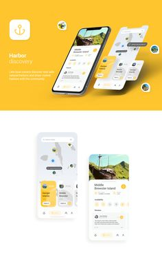 Harbors Discovery App - Freebie Lets boat owners discover new safe natural harbors and share visited harbors with the community Hope you like it and Appreciate it. Best Picture For App Design form For Ui Design Mobile, App Ui Design, Interface Design, Flat Design, User Interface, Wireframe Design, Website Design Layout, Web Layout, Layout Design