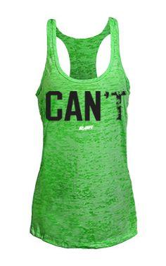 'Can' green burnout tank top.  Workout tanks.