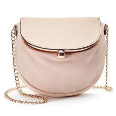 LC Lauren Conrad Lili Frame Flap Crossbody Bag in Blush