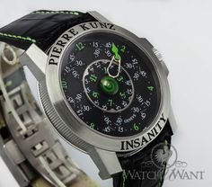 """The Pierre Kunz INSANITY """"Infinity Looping"""" watch is so insane it even comes packaged in a straight-jacket! Used Watches, Pre Owned Watches, Men's Watches, Luxury Watches, Watches For Men, Unusual Watches, Straight Jacket, Watch Box, Wristwatches"""