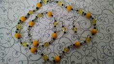 Yellow acrylic and black glass seed bead set now available in my etsy shop.  Earings are free with purchase  Check out this item in my Etsy shop   https://www.etsy.com/listing/228841765/yellow-black-set