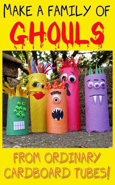 TOILET PAPER TUBE MONSTERS: These are ADORABLE and perfect for #Halloween!
