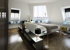 modernes schlafzimmer einrichten fenstersitzbank parquett feng shui