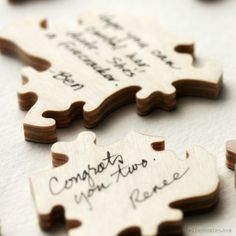 Puzzle guest book. A fun alternative for weddings or other events. Bella Puzzles will customize with names, date, or a fun shape. Have one made in the shape of your state or country!