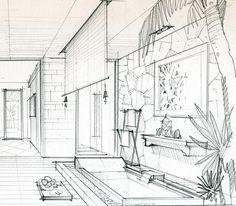 绘于2007年,海南某度假酒店套房设计方案,铅笔。