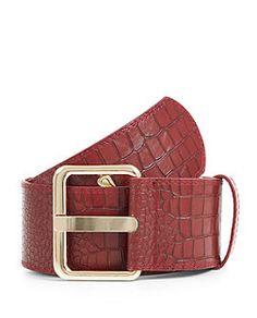 Burgundy Croc Textured Waist Belt  | New Look