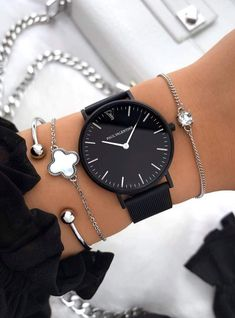 High Quality & Stylish Watches - The Paul Valentine, Feliz Black Mesh. Featuring Matt Black Stainless Steel & one of the finest stainless steel Mesh straps watches women Feliz Mesh Fancy Watches, Trendy Watches, Cute Watches, Elegant Watches, Cheap Watches, Black Watches, Luxury Watches Women, Cool Watches For Women, Woman Watches