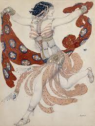 L. Bakst. A sketch of the costume of the Jewish dancer Ida Rubinstein in the ballet Cleopatra. 1909 season in Paris.