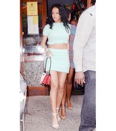 @Who What Wear - Rihanna   Style Recipe: Matching Set + Statement Purse + Ankle-Strap Heels On Rihanna: Kiko Mizuhara for Opening Ceremony top and skirt; Prada bag; Manolo Blahnik Chaos Patent Ankle-Strap Sandals ($725).