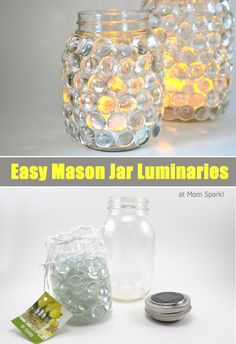 Some are trash and others can be reused for new projects. See how to upcycle glass mason jars here! Mason Jars, Bottles And Jars, Mason Jar Crafts, Glass Jars, Fun Crafts, Crafts For Kids, Craft Projects, Projects To Try, Mason Jar Lighting