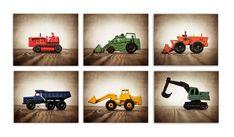Set of SIX Primary color Construction Digger Photo Prints, BullDozer, Dumptruck, Digger, Tractors o Boys Room Decor, Boy Room, Nursery Decor, Baby Decor, Boy Wall Art, Presidents Day Sale, Dump Trucks, Christmas In July, Christmas Sale