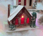 UNUSUAL VINTAGE CARDBOARD CHRISTMAS VILLAGE PUTZ HOUSE