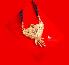 ME51, Daphne Handmade Golden Mangalsutra Necklace With Black Beads , Gift for Wife