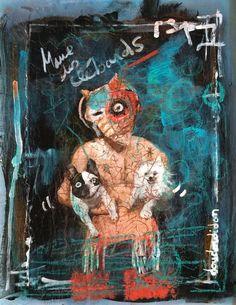 clebard blues #2 (Média mixtes),  30x21 cm par Doudoudidon peinture sur film radio de récup