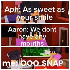 Way to brake the wall Aaron!<- Was the roast to Aphmau or Aaron cause she said as sweet as your smile but since they don't have mouths. Breaking The 4th Wall, Aarmau Fanart, Aphmau Characters, Aphmau Memes, Aphmau And Aaron, Zane Chan, Funny Moments, Mini Games, Youtubers