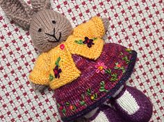 The dress was knit with a cast on of 96 stitches and my usual modifications found here: http://www.ravelry.com/projects/suzymarie/bunny-dress-mod... . It was fun to play wi...