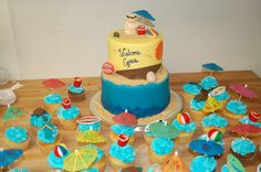Beach themed baby shower cake by Cake is the Best Part Bakery, Redding, CA