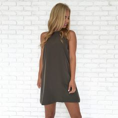 Going Down For Real Olive Shift Dress