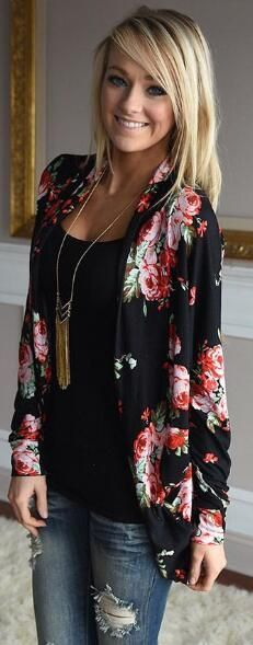 Floral Print Long Sleeve Cardigan