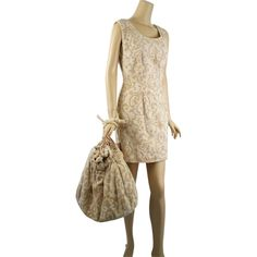 1960s Tan Chenille Mini Dress Beach Coverup w/ Matching Tote Bag by Rugard Sz 42 B40 W32 offered by Ruby Lane shop Alley Cats Vintage