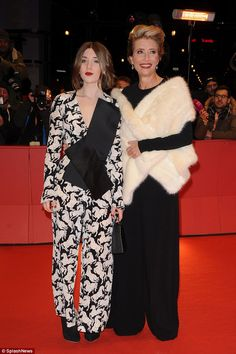 Chic through the ages:Emma Thompson proved she is as sartorially skilled as she is accomp...