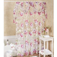 Floral Haven Sheer Shower Curtain with Scarf Valance