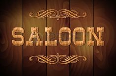 Picture of Wooden sign SALOON and curly ornaments on a wooden background stock photo, images and stock photography. Saloon Western, Westerns, Barn Parties, Signage Design, Le Far West, Illustrations, Wooden Background, Bar Signs, Wild West