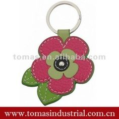 Leather Flower Keyring