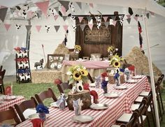 Party table from Wild West Cowboy Party at Kara's Party Ideas. See more at karaspartyideas.com!