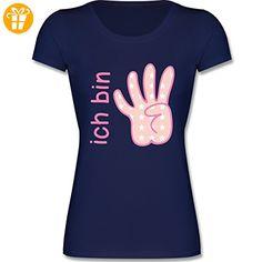 Geburtstag Kind - Ich bin 4 Maedchen Zeichensprache - 104 (3-4 Jahre) - Dunkelblau - F288K - Kinder Mädchen T Shirt leicht tailliert - T-Shirts mit Spruch   Lustige und coole T-Shirts   Funny T-Shirts (*Partner-Link)