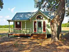 Painted with six colors, The Painted Lady is an intricately designed micro farmhouse in Round Top, Texas, from Tiny Texas Houses.