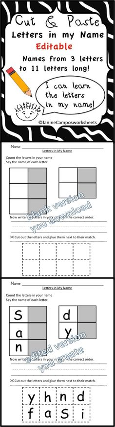 Name Activities / name recognition . These are editable cut and paste worksheets. Type in your class list to tailor the packet to your class needs. Works great for LAST names too.