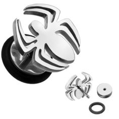 New Pair 316L Surgical Steel Spider Fake/Cheater Plugs-Earring-16GA-1/4