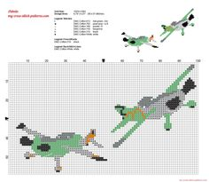 Ned and Zed Disney Planes cross stitch patterns, 95x57 stitches, 6 dmc threads colors.