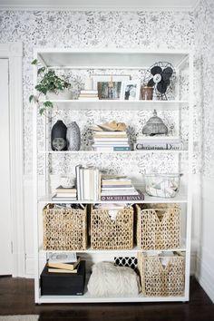 organized office shelves