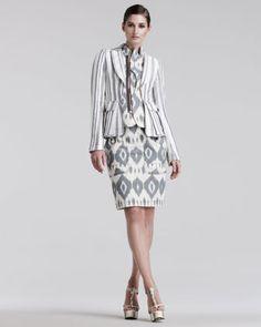Altuzarra Joseph Striped Linen Blazer & Lion Ikat-Print Skirt - Bergdorf Goodman     Linen blazer has wide stripes,     Ikat-print bib notched collar and off-center front zip, front cargo pockets, contour seam at back waist.  Made in Italy. Blazer, $ 2895; skirt, $ 775