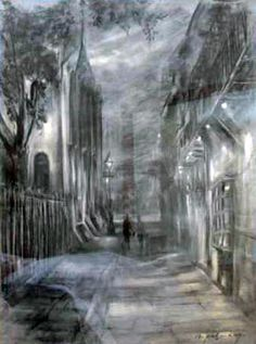 Charcoal sketch of Pirates Alley by Napoleon King