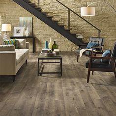 Southern Grey Oak textured laminate floor. Dark oak wood finish, 10mm 1-strip plank laminate flooring, easy to install and PERGO lifetime warranty. Home Depot