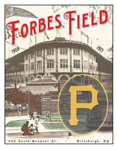 Forbes Field - Former home of the Pittsburgh Pirates Baseball Club - Pittsburgh sports fan - Boys room or Man Cave sports decor Pittsburgh Pirates Baseball, Baseball Park, Pittsburgh City, Pittsburgh Sports, Baseball Banner, Baseball Tickets, Baseball Teams, Baseball Field, Baseball Games Online