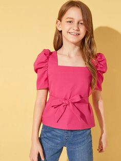Girls Puff Sleeve Self Belted Top – kidenhome Baby Girl Dress Patterns, Kids Outfits Girls, Little Girl Dresses, Girl Outfits, Girls Dresses, Girls Fashion Clothes, Fashion Outfits, Fashion Trends, Young Fashion