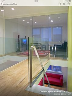 Fancy beautiful glass wall with barely noticeable door