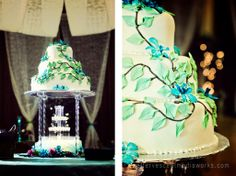 loved this glowing fountain under this cake tower.