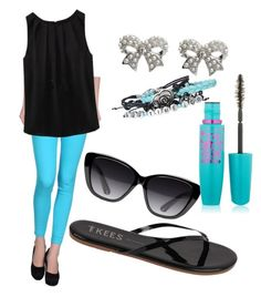 """""""Coloured jeans - sky blue"""" by shaista-bismilla on Polyvore featuring JColor, Tkees, Elizabeth and James, M&Co and Maybelline"""