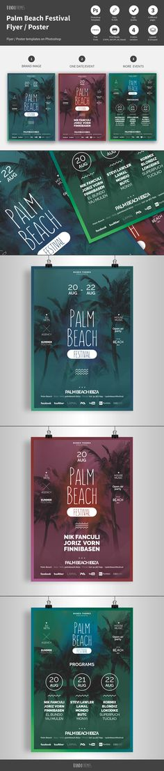 These flyer templates are great for any club, bar, lounge, festival, party, concert, event or other advertising purposes. It's clean, minimalist, trendy design and easy to edit.