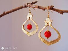 Pomegranade#01 | paper earrings | cardstock, imitation Gold Metal Leaf and red crystal | Paper Leaf