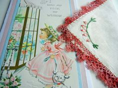 Birthday Card with Vintage Handkerchief by TheSandlapperShop